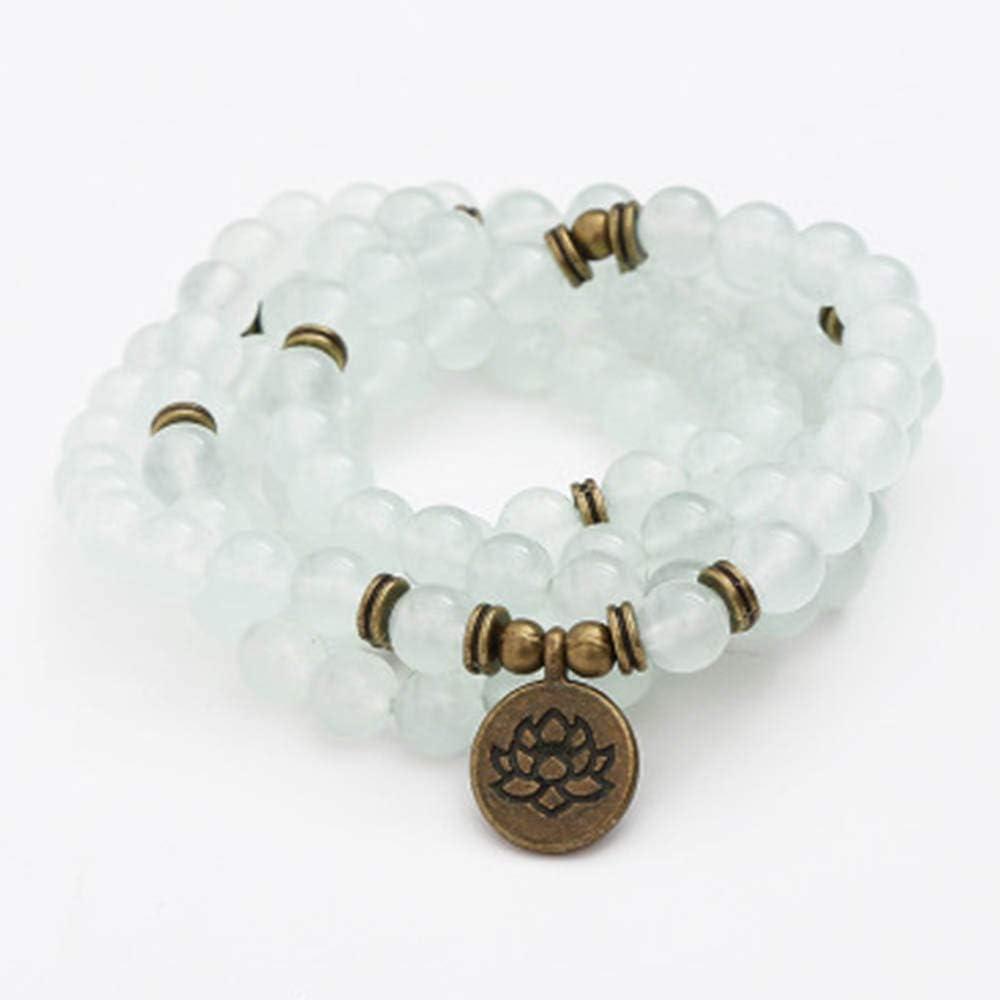 Maniny Pulsera De Cuentas 108 Lotus Pulsera Colgante - Nueva Pulsera de Jade Natural Americana Regalo Natural Jade Bracelet-Lotus Pendant