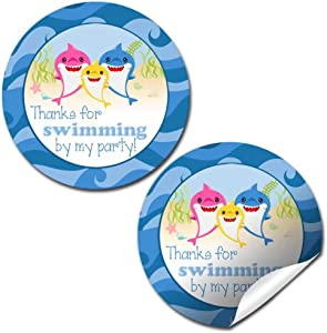 """Little Shark Baby Aquatic Themed Birthday Thank You Sticker Labels for Kids, 40 2"""" Party Circle Stickers by AmandaCreation, Great for Party Favors, Envelope Seals & Goodie Bags"""