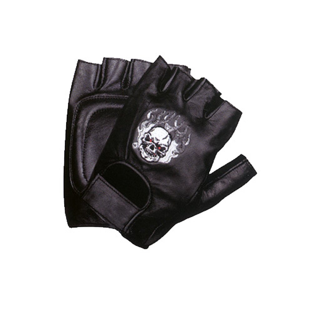 Motorcycle Biker Leather Fingerless Skull Flame Gloves MEDIUM