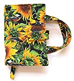"Birds and Sunflower Quilted Paperback Small Romance Standard ROOMY Book Cover for books up to 7.25"" x 4.5"" x 1.5"",Carry Strap Handles,Bookmark,Fabric Closure"