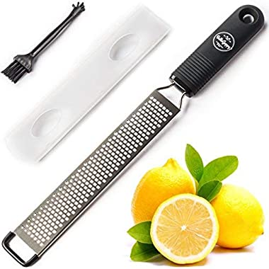 BelleGuppy Lemon Zester & Cheese Grater Stainless s Sharp, Parmesan, Citrus, Ginger, Nutmeg, Garlic, Chocolate + Cover Blade Professional Zesting Tool Dishwasher Safe, Bonus Cleaning Brush, Black