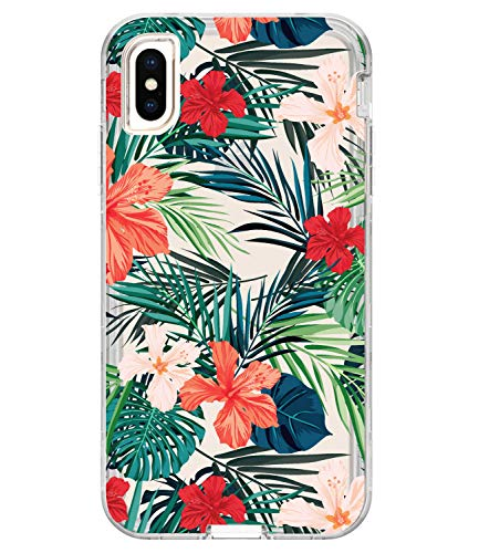 (JDBRUIAN iPhone Xs Max Clear Case Flower Design Heavy Duty Hybrid 3-Layer Full-Body Protect Clear Case Soft TPU & Hard Plastic Back Cover for iPhone Xs Max (2018) (6.5