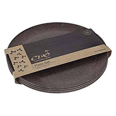 EVO Sustainable Goods 10  Plate, Set of Four, Dark Brown