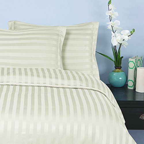 Elegant Comfort 1500 Thread Count -DAMASK STRIPES- Egyptian Quality Luxurious Silky Soft WRINKLE & FADE RESISTANT 3pc Duvet Cover Set, Full/Queen, Ivory (Queen Duvet Cover Set Ivory)