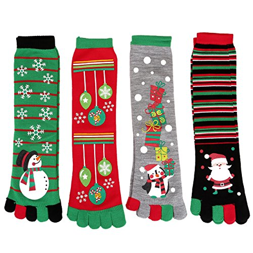 Ayliss 4/8 Pair Womens Five Toes Christmas Socks Winter Warm Stretchy Crew Socks,4 Pairs