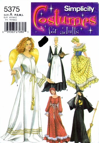 Simplicity 5375 Sewing Pattern Angel Pilgrim Colonial Witch Costume Size 6 - 20 - Colonial Woman Costumes Pattern