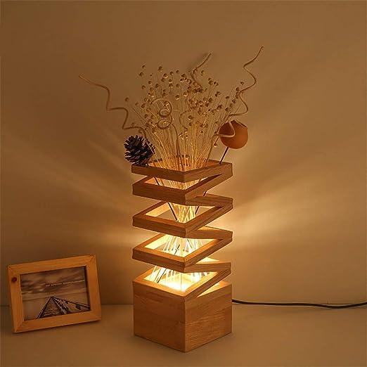 SHELLTB Mesa de Madera Flor de luz Lámpara de Escritorio Simple ...