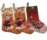Shmily Girl Christmas Stockings 3 Pcs Set Big Size Classic Toys Stockings (Style 4)