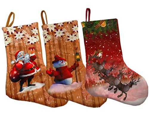 Shmily Girl Christmas Stockings 3 Pcs Set Big Size Classic Toys Stockings (Style 4) by Shmily Girl
