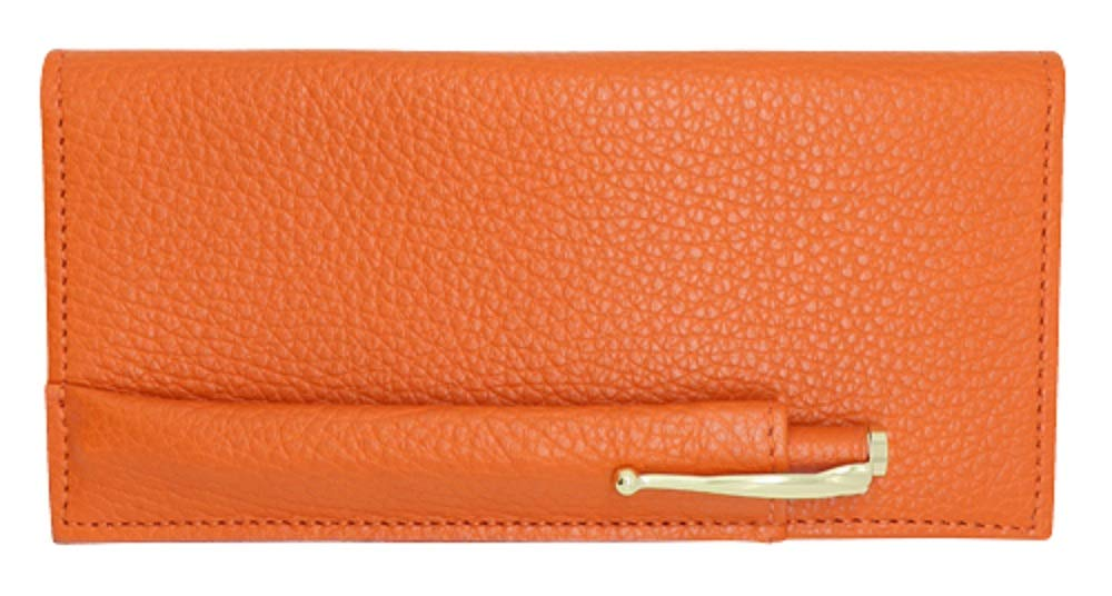 Orange Genuine Colorado Leather Collection Checkbook Cover with Matching Leather Hand-wrapped Gold Pen - American Factory Direct - Made in USA by Real Leather Creations FBA647 by Real Leather Creations