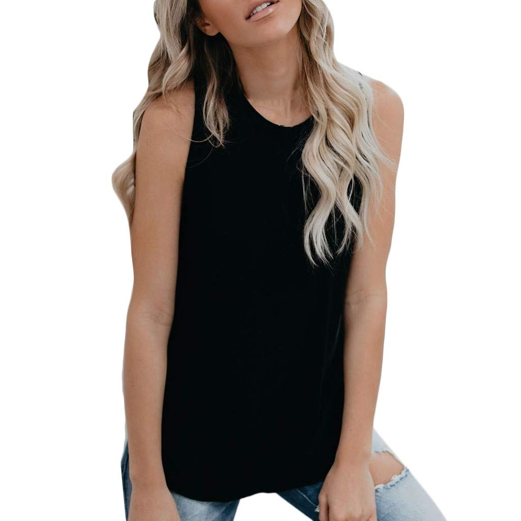 Nufelans Women Tank Tops Solid Vest Summer Round Neck Sport Yoga Loose Camisoles Solid Blouse Black