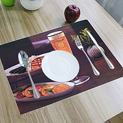 Kuber Industries PVC 6 Piece Table Placemat and Coaster Set - Multicolour