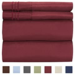 "CGK UNLIMITED  Supreme blend of craftsmanship, our linens are designed to offer a unique and sophisticated sleeping experience. QUEEN SIZE BURGUNDY   This set includes a 4 PC sheet package consisting of a  Flat Sheet (102""x 90"")  Fitted Sheet..."
