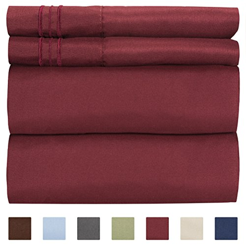 Queen Size Sheet Set - 4 Piece Set - Hotel Luxury Bed Sheets - Extra Soft - Deep Pockets - Easy Fit - Breathable & Cooling - Wrinkle Free - Comfy - Burgundy Bed Sheets - Queens Sheets - 4 PC