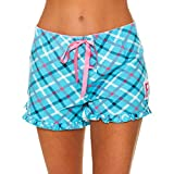 U.S. Polo Assn.. Womens Plaid Ruffle Hem Elastic Waistband Pajama Sleep Shorts Turquoise Large