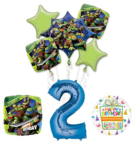 Mayflower Products Teenage Mutant Ninja Turtles 2nd Birthday Party Supplies and TMNT Balloon Bouquet Decorations