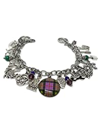 Outlander Stainless Steel Charm Bracelet - Jamie & Claire Handmade Jewelry - Photo Glass Cabochon Plaid Tartan