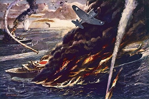 1941 WW2 WWii America Anti Japan Japanese Pacific War Battleship Aircraft Carrier Navy Propaganda Postcard 01107
