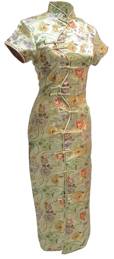 7Fairy Women's Sexy Gold Ten Buttons Long Chinese Dress Cheongsam Size 6 US