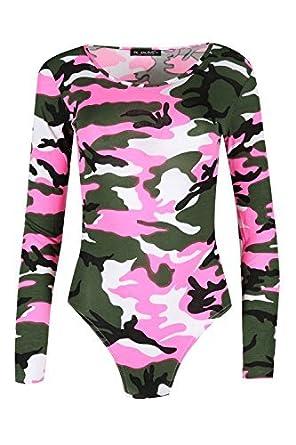 Be Jealous Damen Durchsichtig Body Anzug Damen Rundhals Tarnung Rosen Body