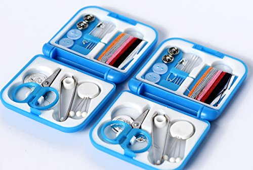 Small sewing machine for children's family travel emergencies scissors thimble thread needle button clip Lead editor Suitcase and accessories Portable Sewing Kit (blue colour 2 sets)