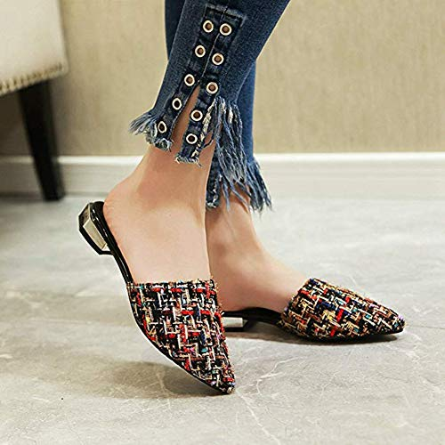 Closed Slides Home Dress Sandals Black 2018 JULY Fashion Pointed On Toe Fashion Mules Slippers T Lazy Shoes amp; Slip Flat nC8PxnO
