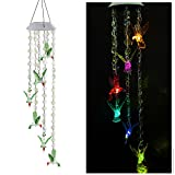 Solar Mobile Bead Wind Chime, Color Changing LED Solar Wind Chime Solar Powered LED Hanging Lamp Wind Chime Light Wind Chimes for Outdoor Indoor Gardening Lighting Decoration Home (Hummingbird)