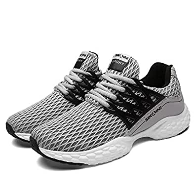 SIKAINI Men's Sports Shoes Breathable Running Sneakers Outdoor Fitness Shoe for Men Grey