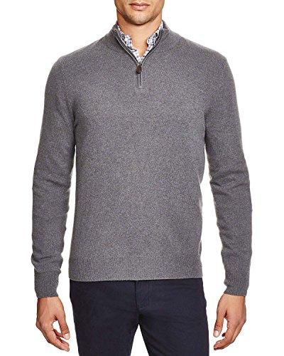 Bloomingdale's Mens 2-Ply Cashmere Half Zip Mock Neck Sweater Small Blue (Cashmere Half Zip Sweater)