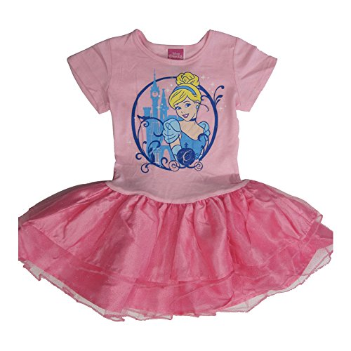 Disney Little Girls Pink Fuchsia Cinderella Print Tutu Ruffle Dress 5 (Brand Girls Dresses Cinderella)
