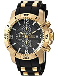 Invicta Mens Pro Diver Quartz Gold-Tone and Stainless Steel Casual Watch, Color:Black (Model: 24965)