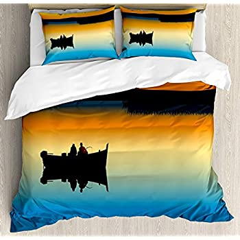 Image of applebless Fishing Decor 4 Pieces Bedding Set, Buddies on Tranquil Still Lake at Epic Sunset Fish Male Friends Home Decor, Duvet Cover Bed Sheet, Orange Blue(Twin) Home and Kitchen