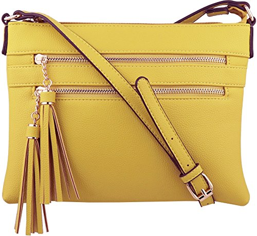 B BRENTANO Vegan Multi-Zipper Crossbody Handbag Purse with Tassel Accents (Yellow.)