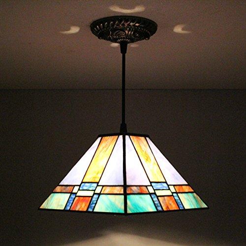 TOYM US-8 inch Tiffany European creative geometric glass chandeliers (Glass Chandelier Geometric Stained)