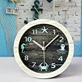 Alrens_DIY(TM) Nice Ocean Retro Wood Clocks Vintage Modern Design Creative 3D Desk Clock Silent Non-ticking Home Decor Quartz Alarm Clock
