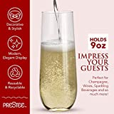 24 Stemless Plastic Champagne Flutes - 9 Oz Plastic