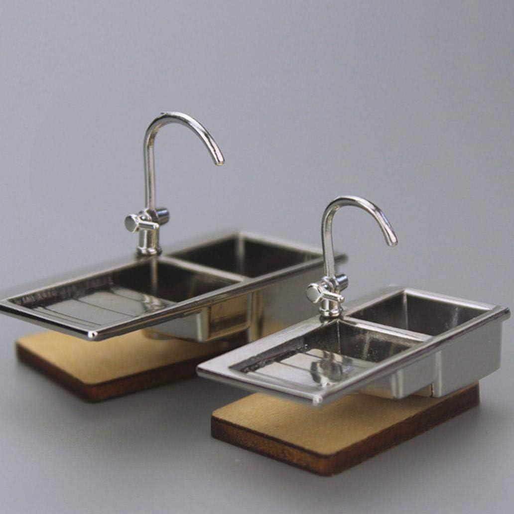 2PCS 1:12 Miniature Metal Water Tap Dollhouse Bathroom Faucet Accessories Lh