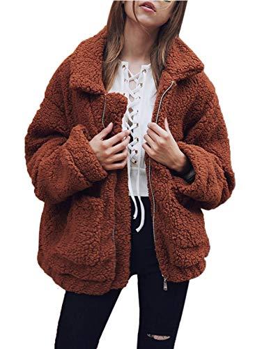 SHIBEVER Fluffy Women Coats Faux Wool Blend Warm Winter Jacket Zip Up Long Sleeve Oversized Fashion Outerwear Coffee M