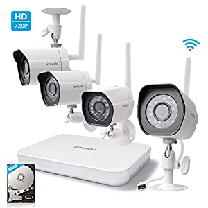 Zmodo 720p HD Wireless Outdoor Indoor Home Security Camera 4CH NVR System 500GB Hard Drive