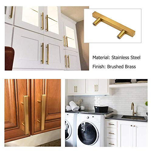 goldenwarm 3in Gold Drawer Pulls Brushed Brass Cabinet Pulls 15 Pack - LS1212GD76 Gold Drawer Knobs Kitchen Hardware Bathroom Cabinet Knobs Door Handle 5in(128mm) Overall Length by goldenwarm (Image #2)