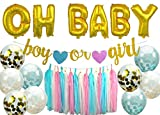 megbee Gender Reveal Party Supplies | Baby Shower Decorations Party Kit | Twin Boy and Girl | Baby Announcement - OH Baby Foil Balloons, Confetti Balloons, Tassel Banner, Backdrop, Glitter Sign