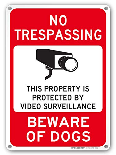 Beware of Dog Sign, No Trespassing Video Surveillance Sign, Outdoor Rust-Free Metal, 10