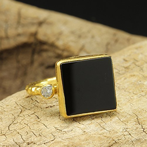 (Natural Square Shape Black Onyx Ring 925 Solid Sterling Silver 24K Yellow Gold Vermeil Handcrafted Artisan Hammered Gemstone Ring)