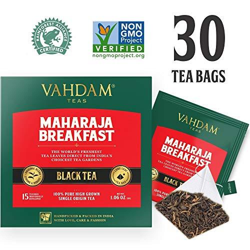 English Breakfast Black Tea (30 Tea Bags) | HIGH ENERGY & CAFFEINE - Healthy Coffee Replacement | Strong, Robust & Flavoury Black Tea Bags | Brew Hot, Iced, Kombucha Tea, Milk Tea | ANTIOXIDANTS RICH