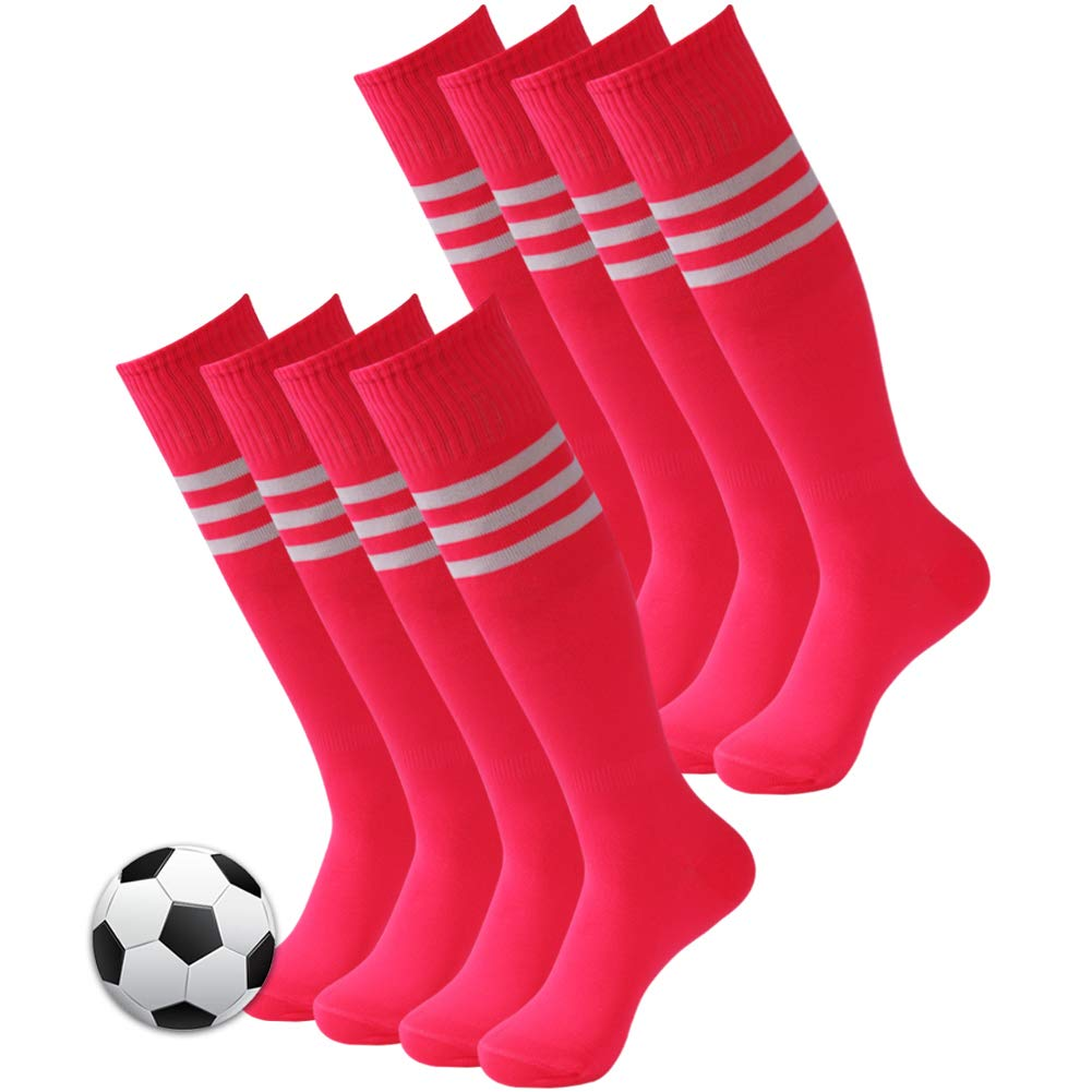 Soccer Tube Socks, 3street Unisex Student Sport Athletic Soccer Socks Over Knee Triple Striped Socks for Running Workout Dance Hot Pink 8 Pairs by Three street