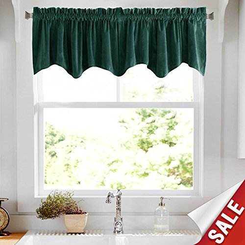 Window Valance Velvet - jinchan Velvet Curtains Half Blackout Weave-Shape Valance, Room Darkening Drapes for Bedroom Window Curtain Rod Pocket 1 Panel, 18