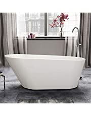 61 In Freestanding Bathtub Seamless White Acrylic CUPC Certified Soaking SPA Flat Bottom Stand Alone Tub Modern Style with Chroming Brass Overflow and Drain (1506B)