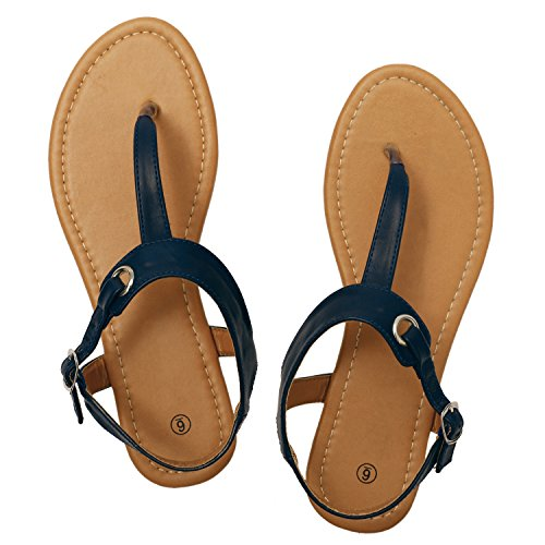 Rekayla Flat Thong Sandals with T-Strap and Adjustable Ankle Buckle for Women Navy Blue 08 -