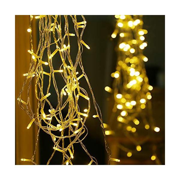 SYCEES Nastro Catena Luci 200 LED 23M Bianco Caldo da Interno 8 Effetti di Lampeggio/Funzione di Memoria/ IP44 / Luce Feste Natale Matrimonio Giardino Patio Mostra Vetrina (bianco caldo 200 led) 7 spesavip