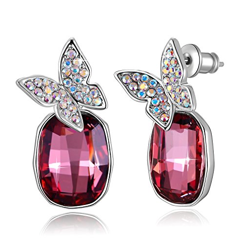 Swarovski Element Earrings Butterfly Gemstone Drop Earrings with Swarovski Crystals, Rose Red & Blue, Birthstone Gifts for Women, Valentines Fashion Gifts